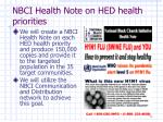 nbci health note on hed health priorities