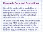 research data and evaluations