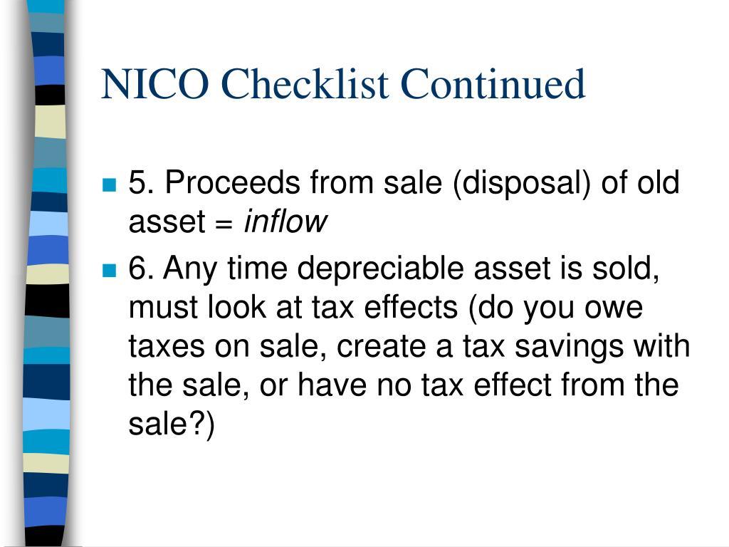 NICO Checklist Continued