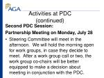 activities at pdc continued