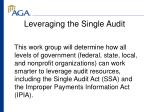 leveraging the single audit
