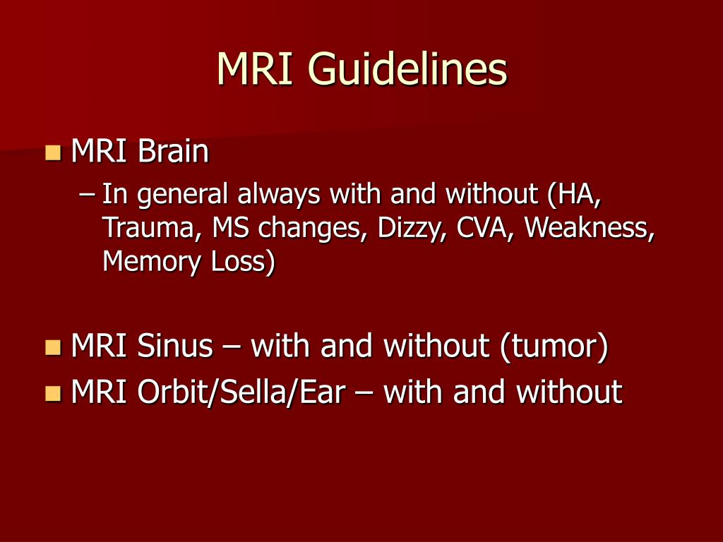 MRI Guidelines