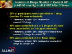number of drugs needed to control bp 140 90 mm hg in allhat after 5 years