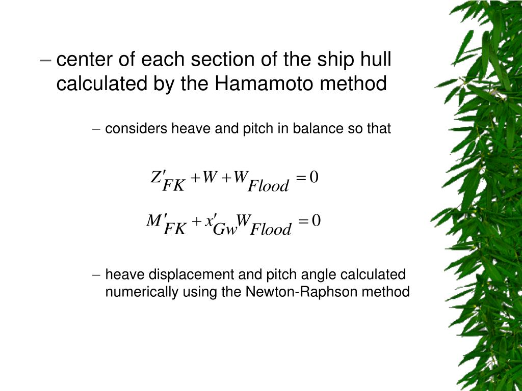 center of each section of the ship hull calculated by the Hamamoto method