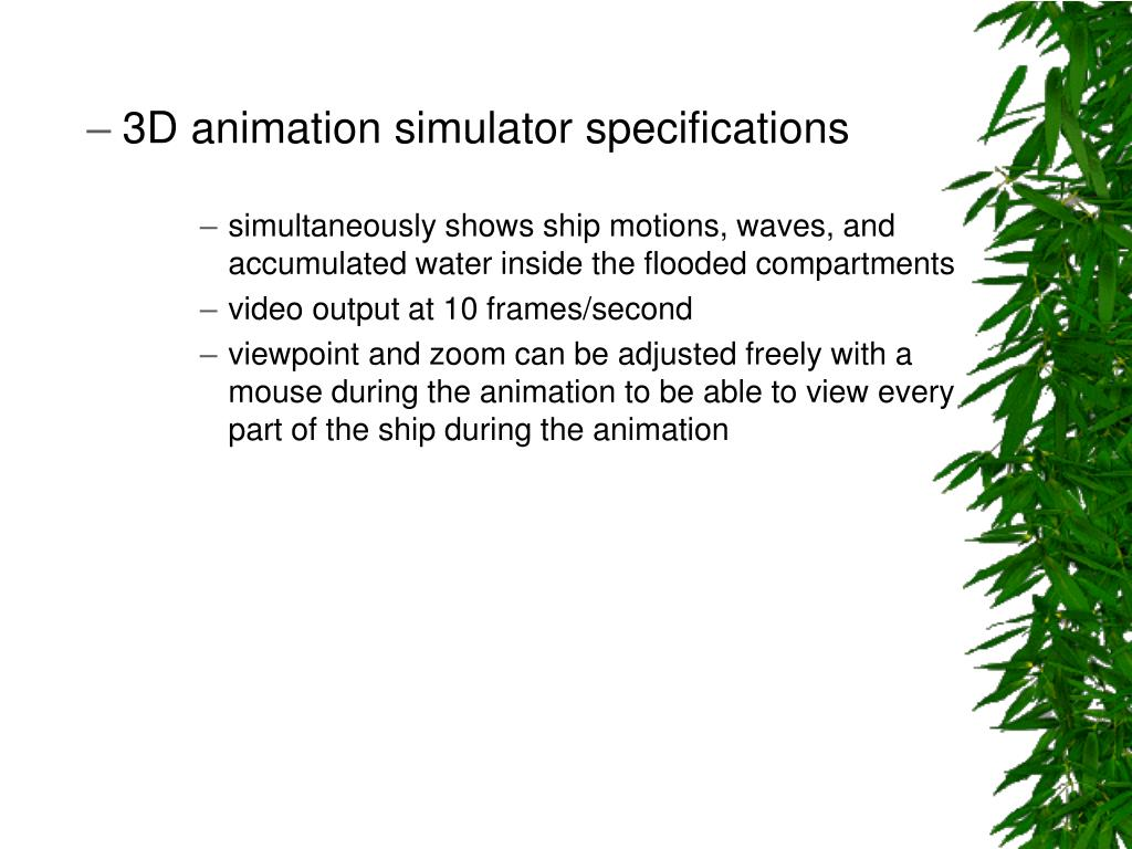 3D animation simulator specifications