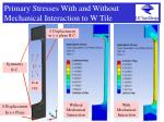 primary stresses with and without mechanical interaction to w tile