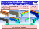 summarize the simulation process of t tube divertor with cfd ansys