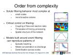 order from complexity
