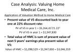 case analysis valuing home medical care inc21