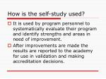 how is the self study used