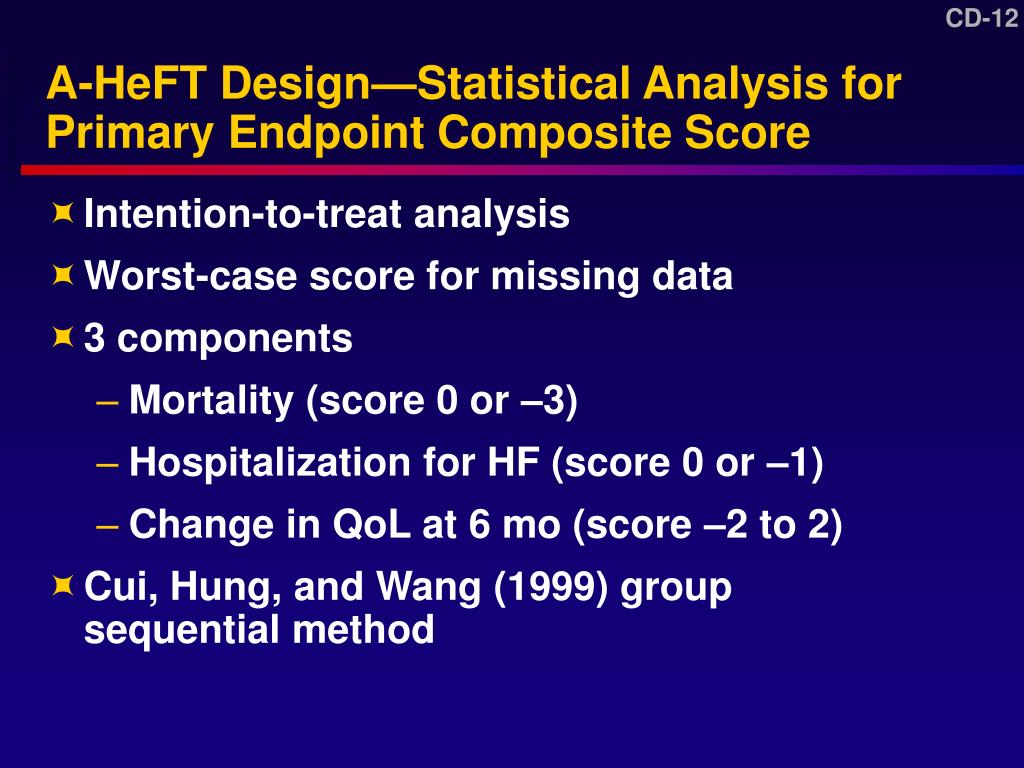A-HeFT Design—Statistical Analysis for Primary Endpoint Composite Score