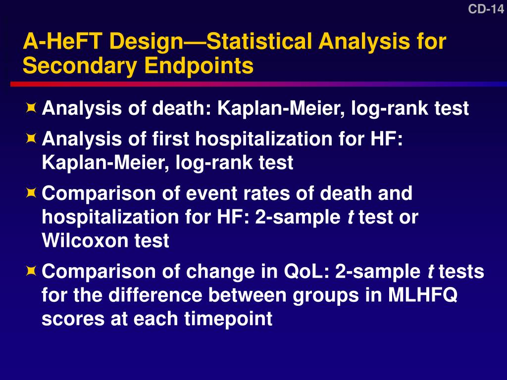 A-HeFT Design—Statistical Analysis for Secondary Endpoints