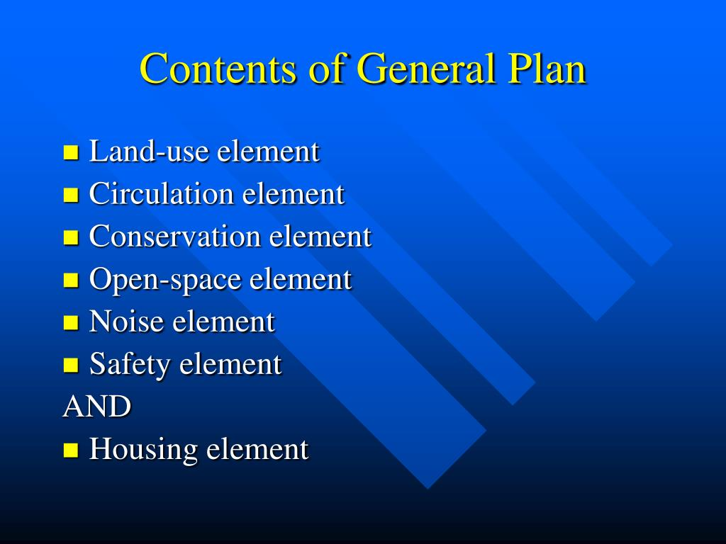 Contents of General Plan