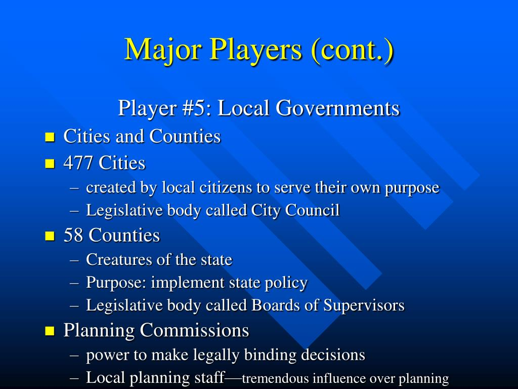 Major Players (cont.)