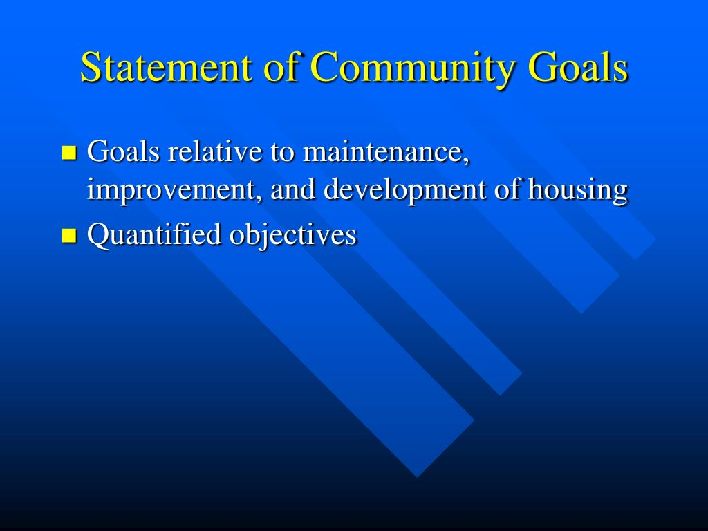 Statement of Community Goals