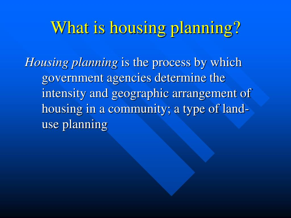What is housing planning?
