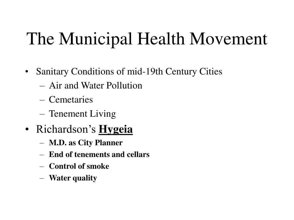 The Municipal Health Movement