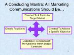a concluding mantra all marketing communications should be