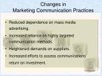 changes in marketing communication practices