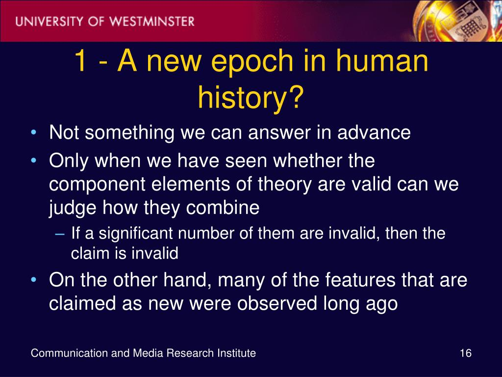 1 - A new epoch in human history?