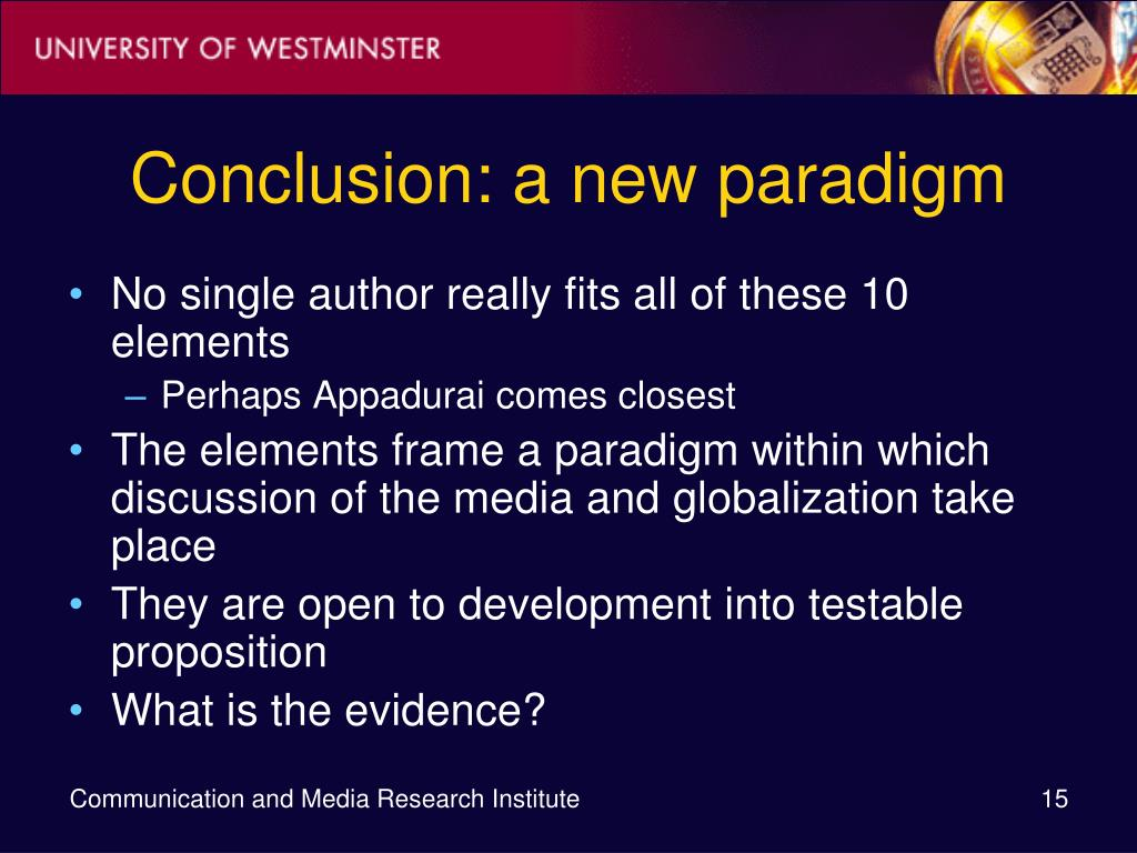 Conclusion: a new paradigm