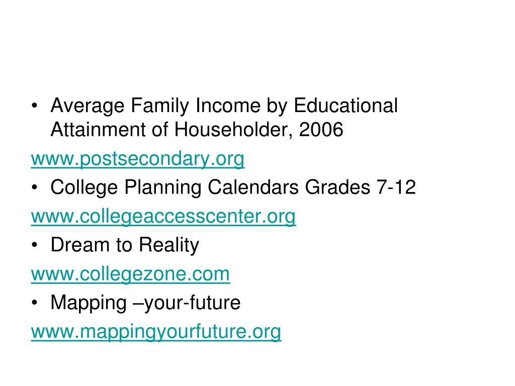 Average Family Income by Educational Attainment of Householder, 2006