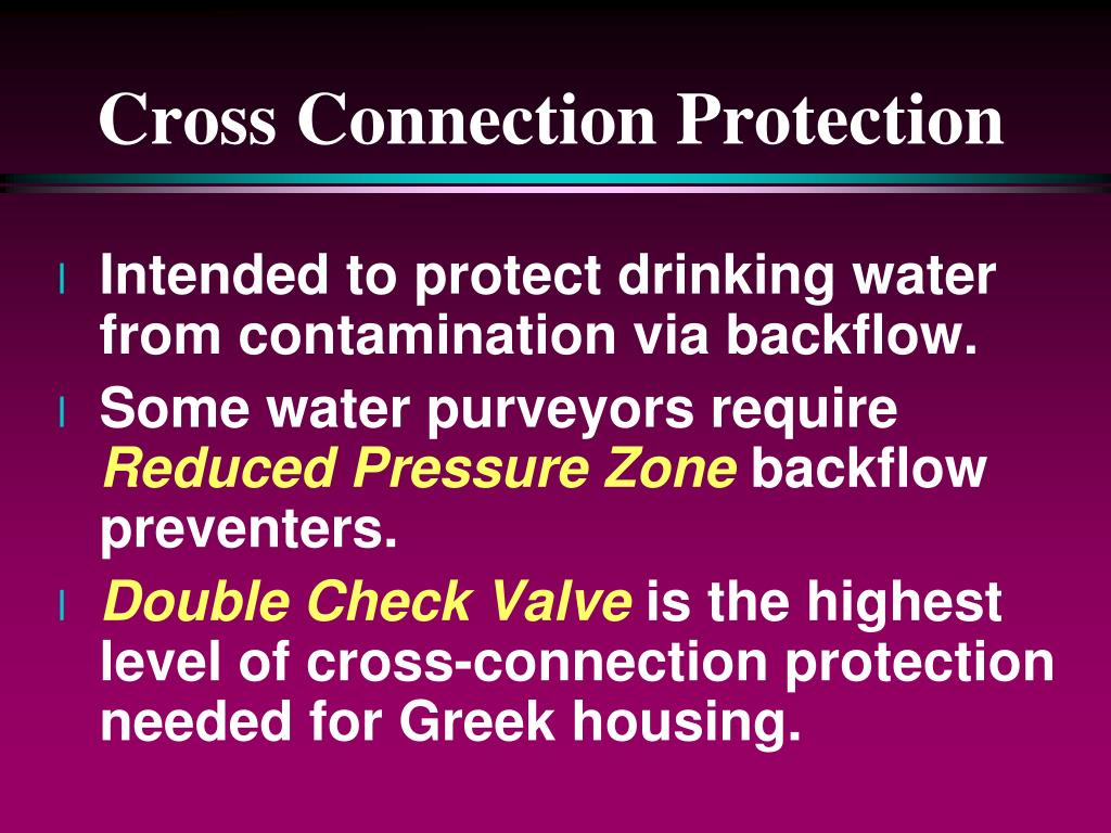 Cross Connection Protection
