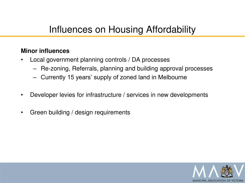 Influences on Housing Affordability