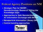 federal agency positions on nm