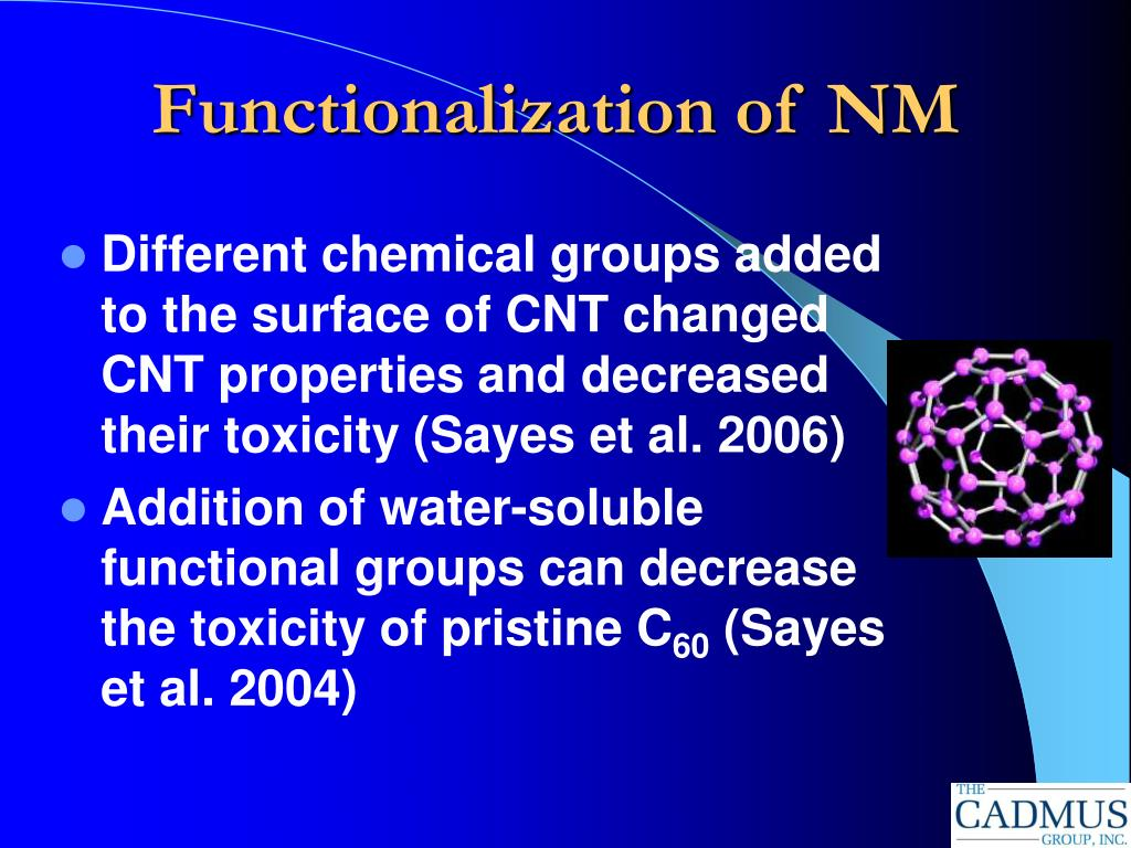 Functionalization of NM
