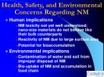 health safety and environmental concerns regarding nm