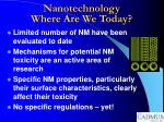 nanotechnology where are we today