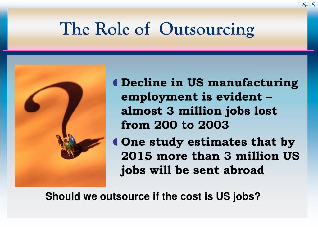 the role of outsourcing The changing face of outsourcing robert morgan & jean-louis bravard there is a lot of talk these days about the rationale for outsourcing migrating from cost to quality but ask the ceo or.
