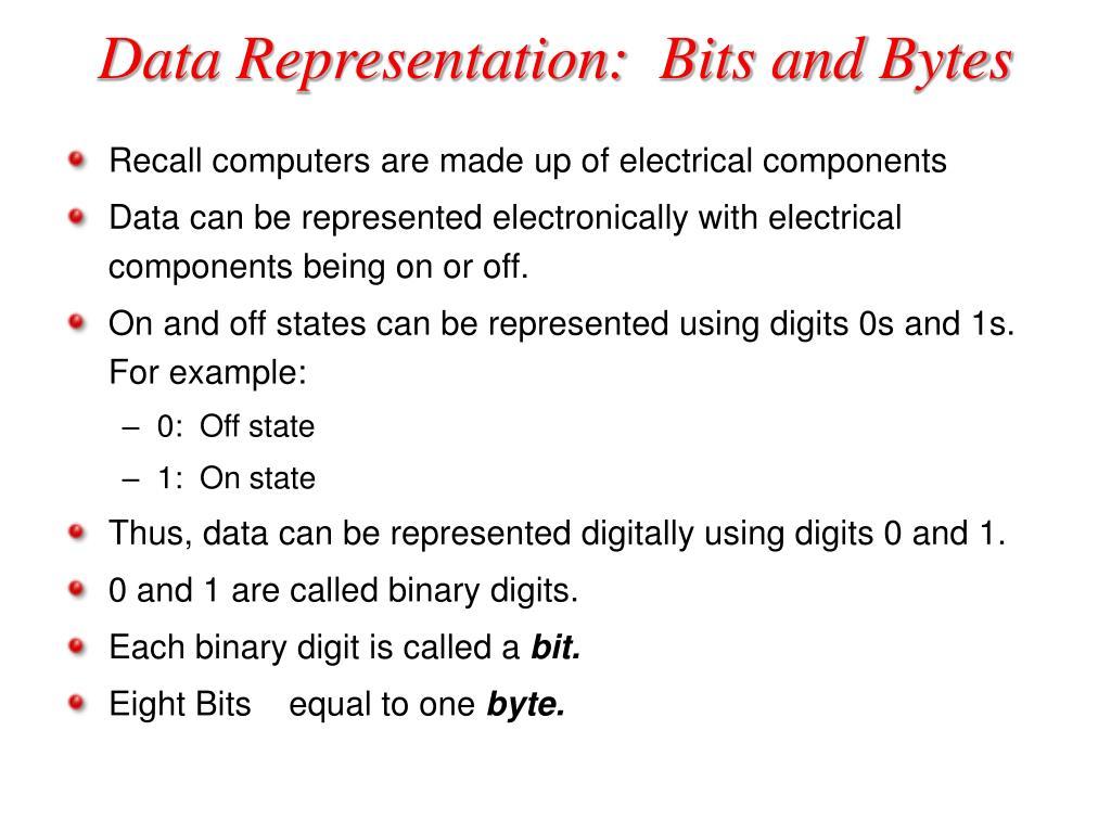Data Representation:  Bits and Bytes