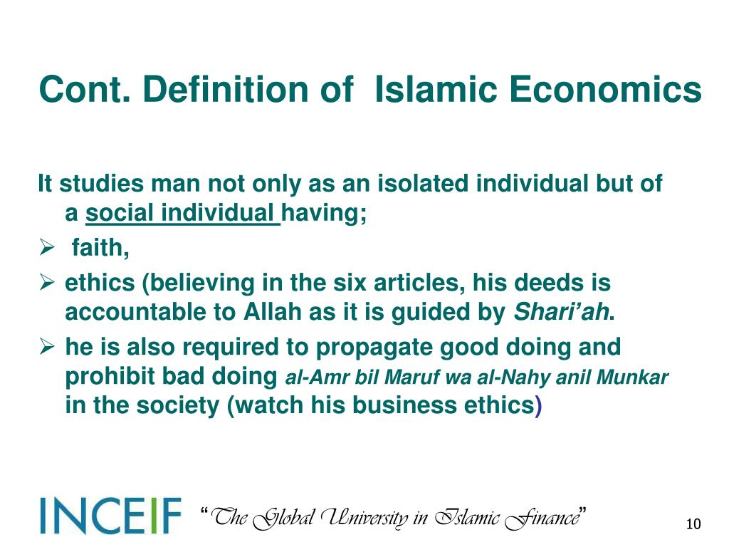 Cont. Definition of  Islamic Economics