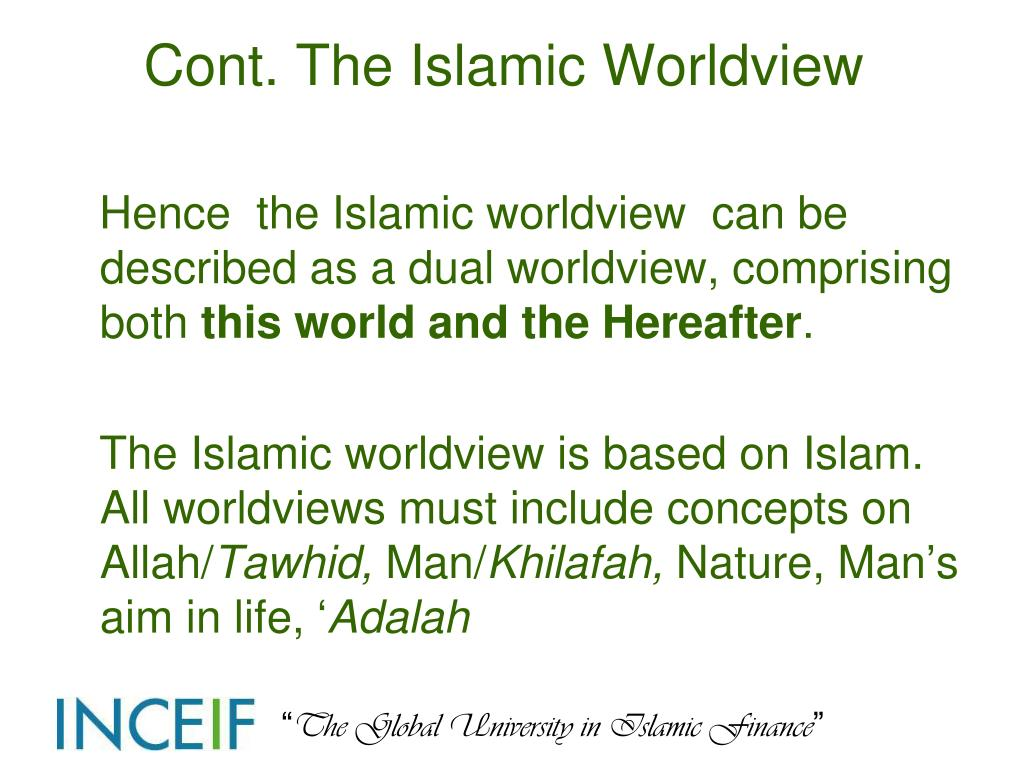 Cont. The Islamic Worldview