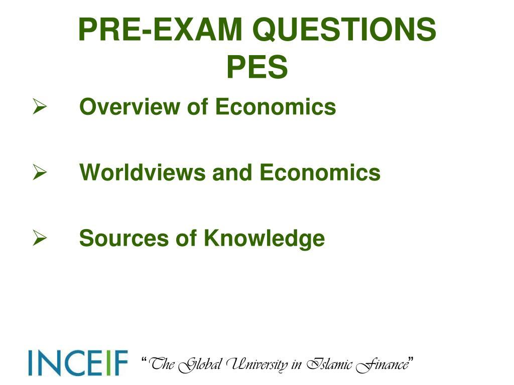 PRE-EXAM QUESTIONS