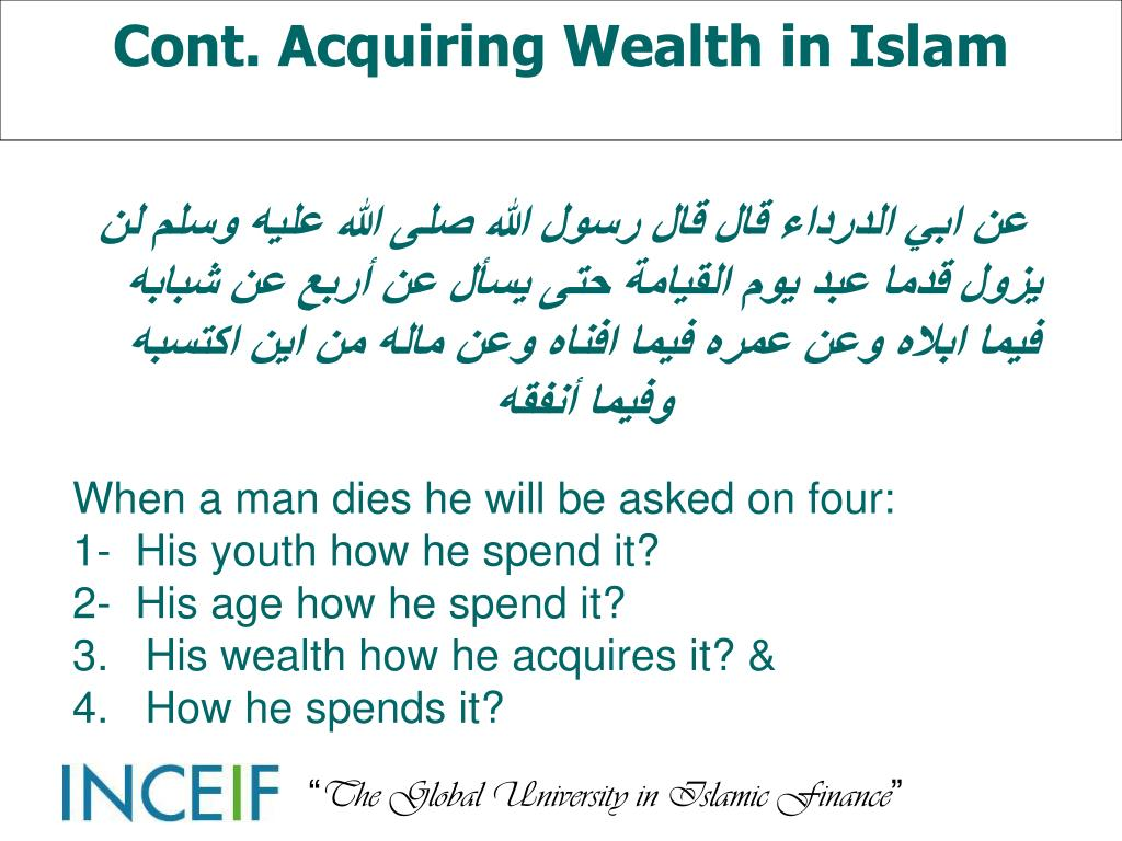 Cont. Acquiring Wealth in Islam