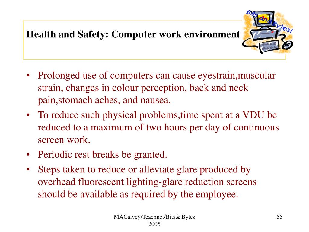 Health and Safety: Computer work environment