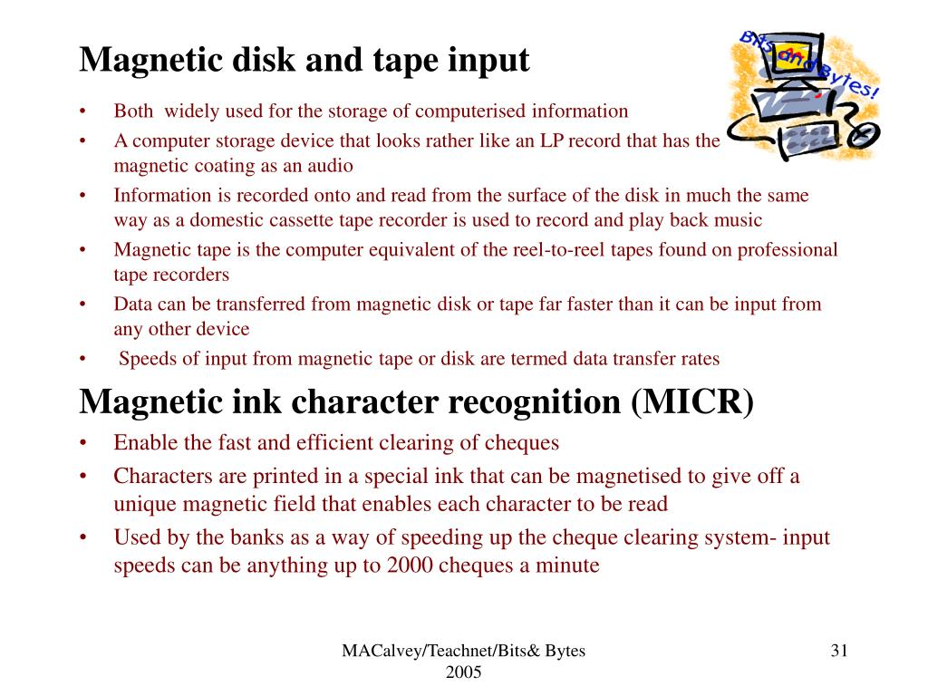 Magnetic disk and tape input