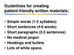 guidelines for creating patient friendly written materials