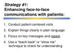 strategy 1 enhancing face to face communications with patients
