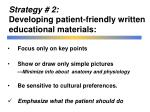 strategy 2 developing patient friendly written educational materials