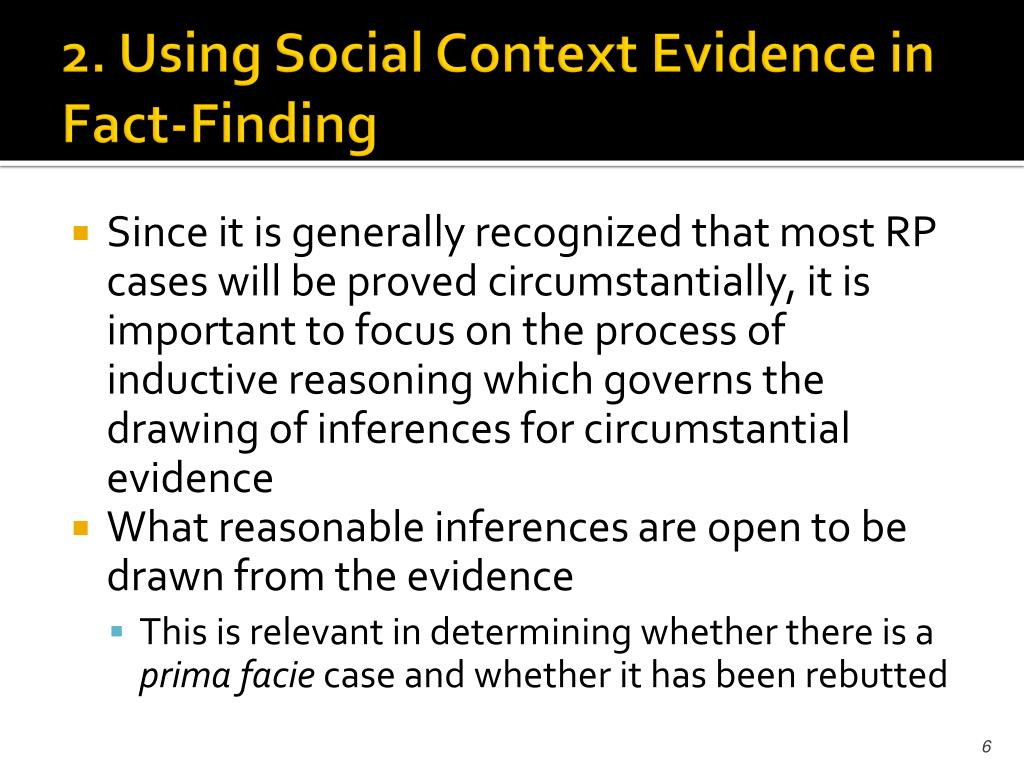 2. Using Social Context Evidence in Fact-Finding