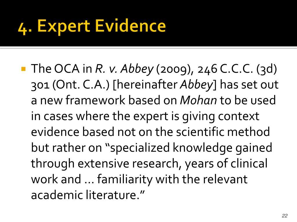 4. Expert Evidence