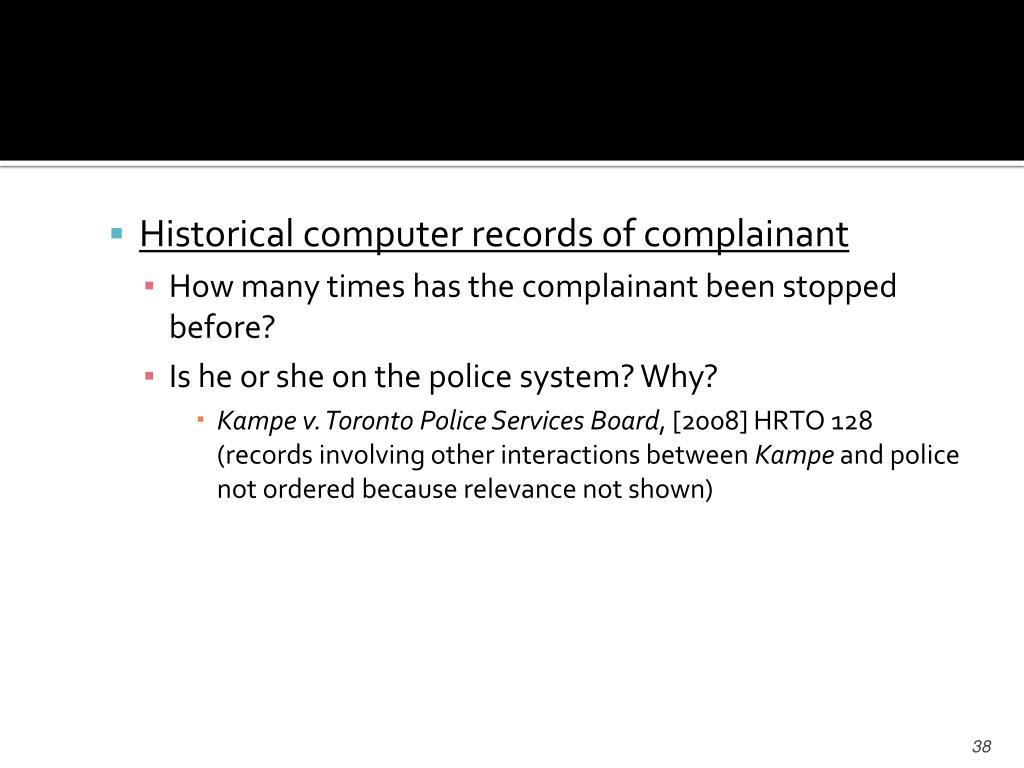 Historical computer records of complainant