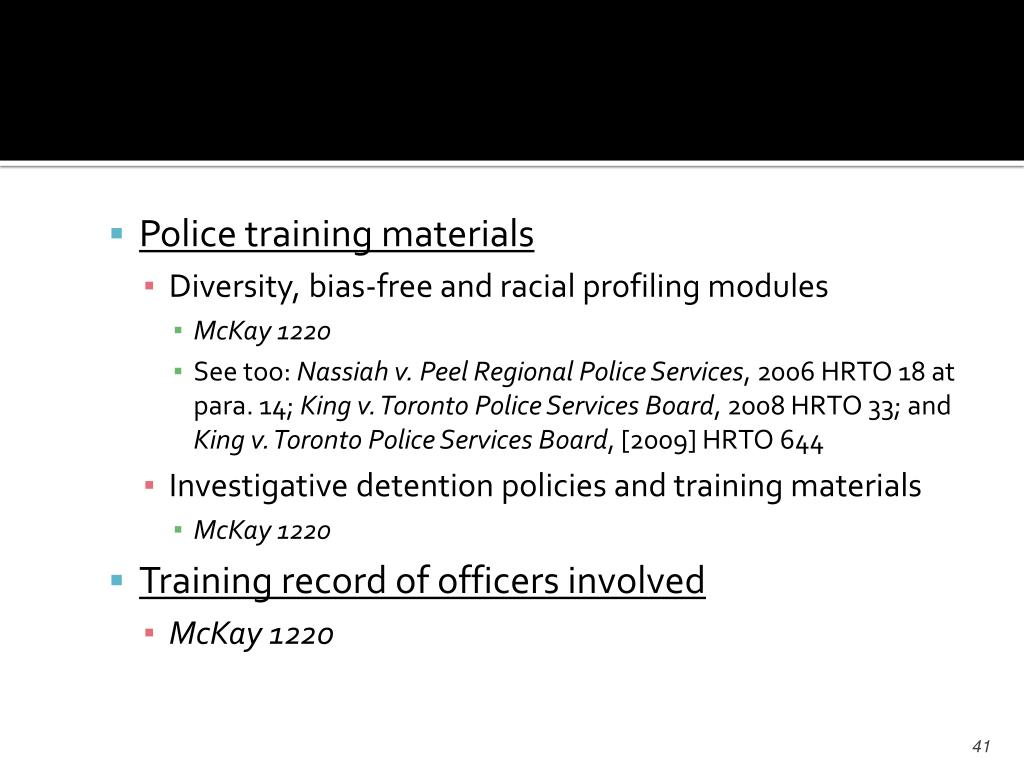Police training materials