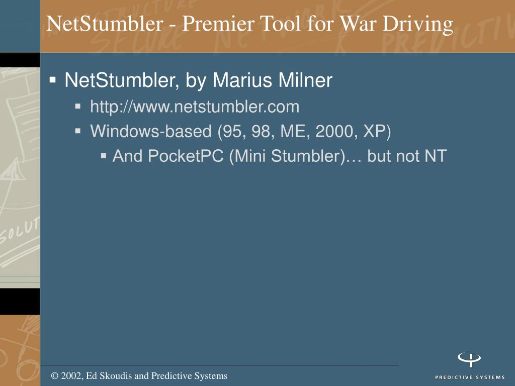 NetStumbler - Premier Tool for War Driving