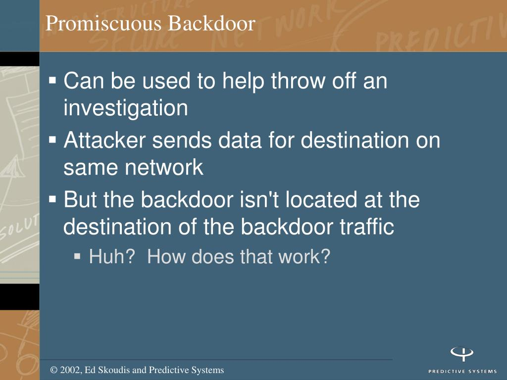 Promiscuous Backdoor