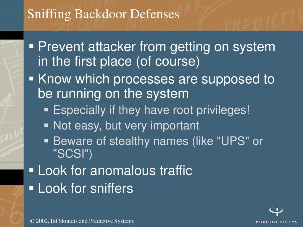 Sniffing Backdoor Defenses